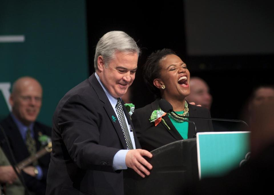 State Senator Linda Dorcena Forry shared a laugh with City Councilor Michael Flaherty at the annual South Boston St. Patrick's Day Breakfast on Sunday.