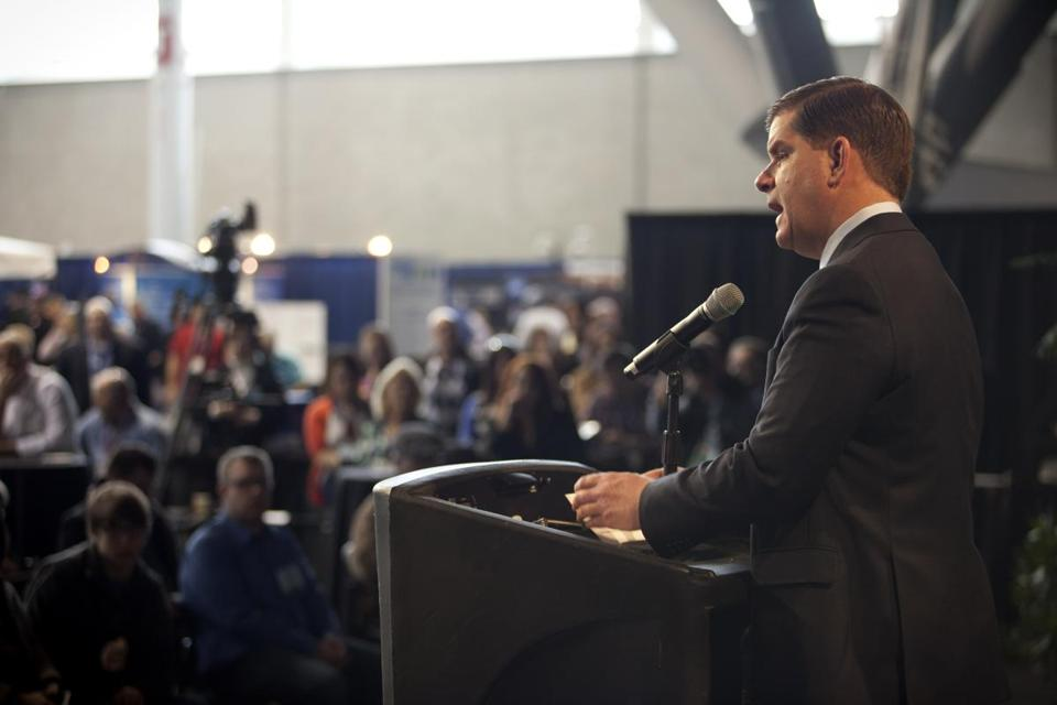 Mayor Martin Walsh spoke at the New England Food Show at the Boston Convention & Exhibition Center as the St. Patrick's Day parade was occurring.