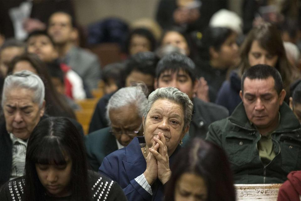 Members of the destroyed Spanish Christian Church joined worshipers at the Church of God on Third Avenue Sunday.