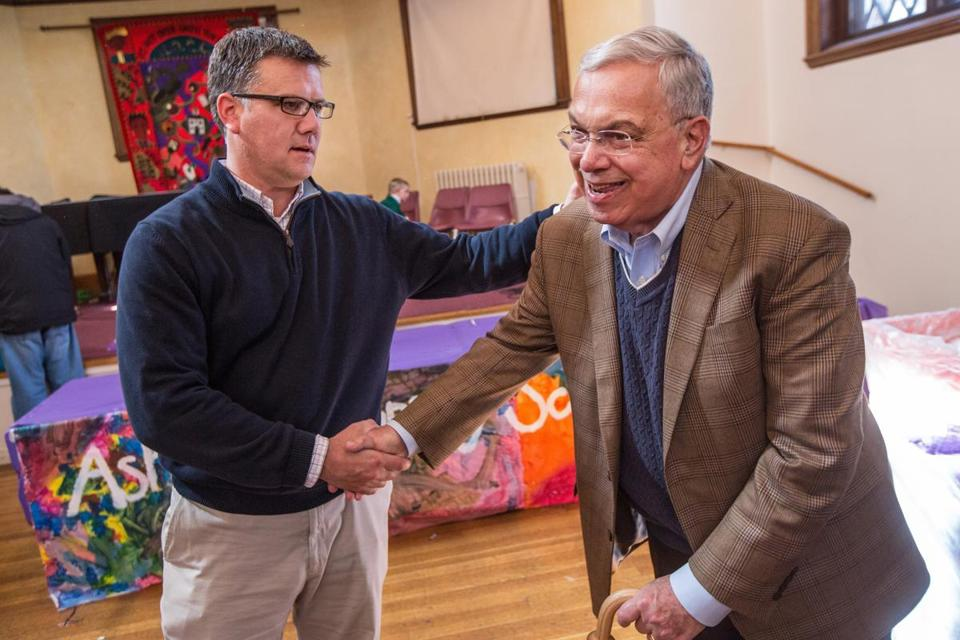 "Mark Chardavoyne greeted former Mayor Thomas Menino during a book signing for ""Goodbye, Mayor Menino"" Sunday at Dorchester Winter Farmers' Market in the Codman Square Great Hall."