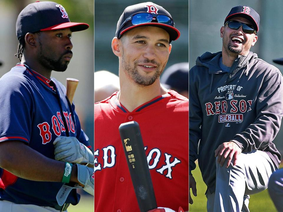Some Red Sox outfield questions: Will Jackie Bradley Jr. (left) be kept on the roster if Grady Sizemore (center) can play regularly? And will Shane Victorino (right) get healthy soon?