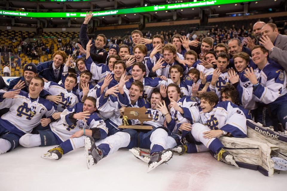 Malden Catholic players celebrated on the TD Garden ice after the team captured the Super 8/Division 1A title for the fourth consecutive year. It's a championship streak that hasn't occurred since Catholic Memorial did it in 1998-2001.