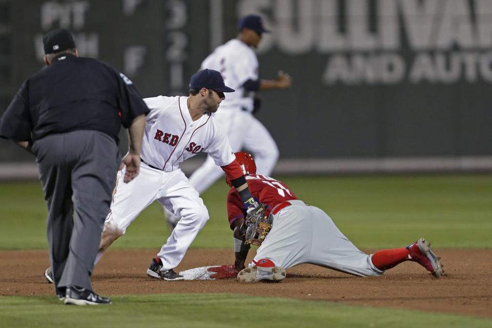 Phillies shortstop Jimmy Rollins stole second base as Dustin Pedroia covered the base during the third inning.