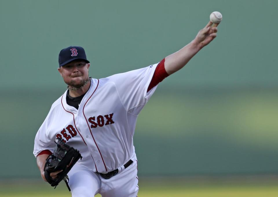 Jon Lester fired a pitch during the first inning on Saturday.