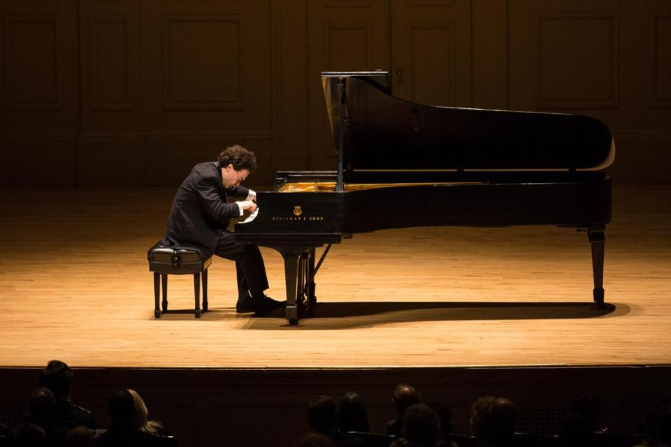 Evgeny Kissin performing at Symphony Hall on Sunday.