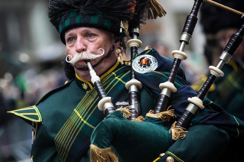 A bagpiper joined thousands of participants along Fifth Avenue in the world's largest St. Patrick's Day parade.