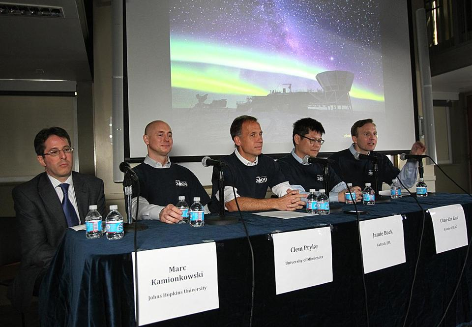 A team at the Harvard-Smithsonian Center for Astrophysics announced that they have found the first direct evidence of cosmic inflation. Left to right, Marc Kamionkowski of Johns Hopkins University, Clem Pryke of the University of Minnesota, Jamie Block of Caltech/JPL, Chao-Lin Kuo of Stanford/SLAC, John Kovac of Harvard-Smithsonian Center for Astrophysics.