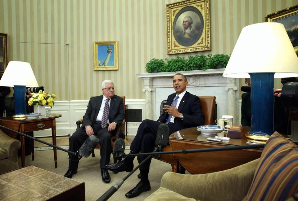 President Obama's meeting at the White House with Palestinian leader Mahmoud Abbas continued his return to diplomacy, which he had left to Secretary of State John Kerry.