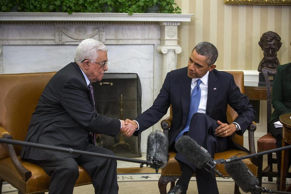 President Barack Obama (R) met with Palestinian Authority President Mahmoud Abbas (L) in the Oval Office of the White House in Washington DC.