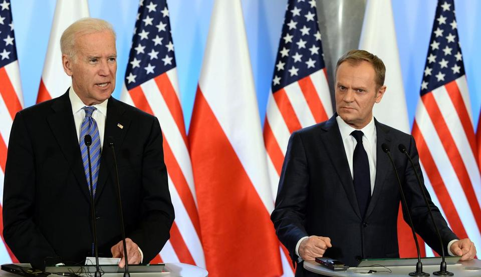 US Vice President Joe Biden (left) and Polish Prime Minister Donald Tusk at a press conference in Warsaw, Poland.