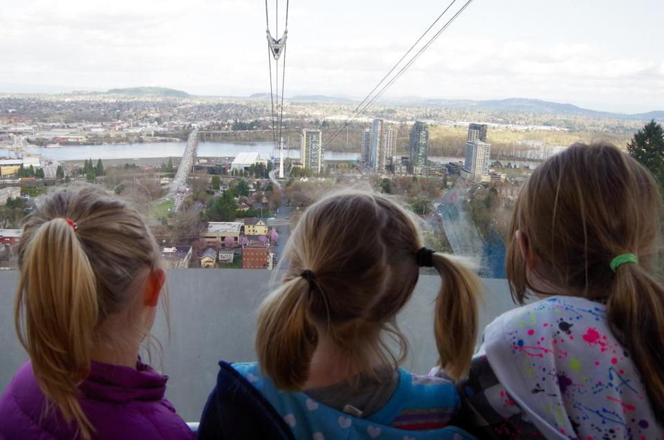 Ride the Portland Aerial Tram or observe how other families behave at the zoo.