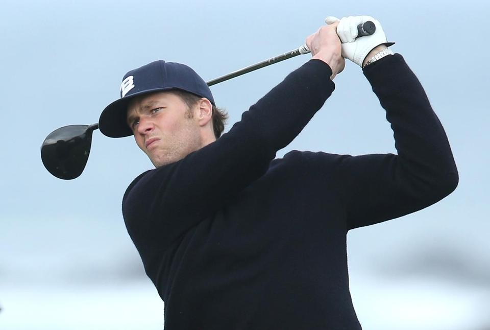 PEBBLE BEACH, CA - FEBRUARY 07: New England Patriots quarterback Tom Brady hits a tee shot on the 13th hole during the second round of the AT&T Pebble Beach National Pro-Am at the Monterey Peninsula Country Club on February 7, 2014 in Pebble Beach, California. (Photo by Jeff Gross/Getty Images)