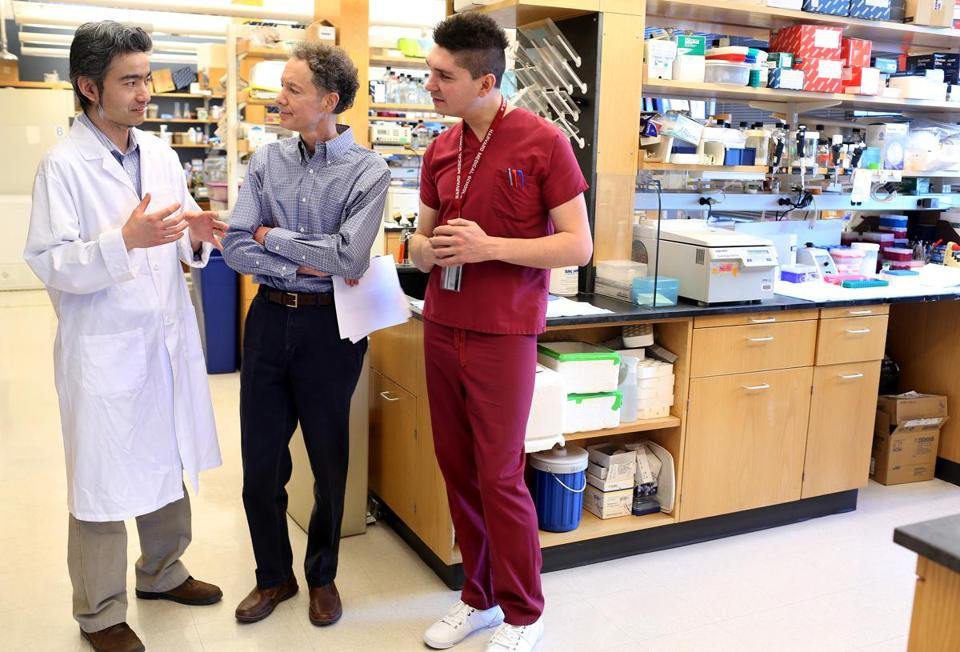 Dr. Bruce Yankner, center, spoke with genetics instructor Tao Lu, left, and post-doc fellow Liviu Aron, part of a team of Harvard Medical School researchers that discovered a protein that protects thte aging brain.