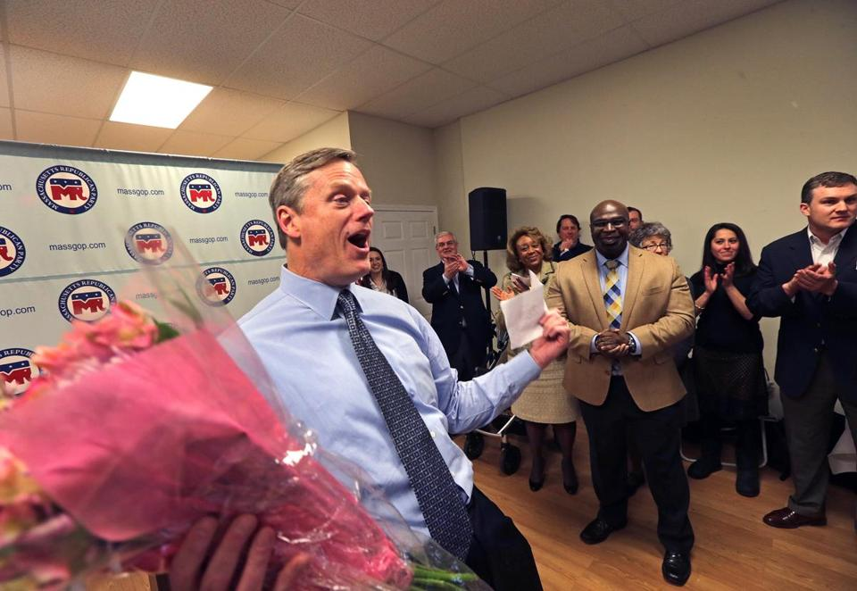 Charlie Baker attended a preconvention rally in Hyde Park Tuesday.