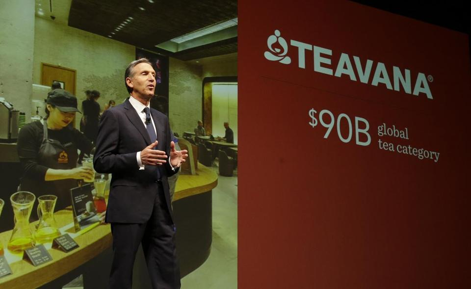 Howard Schultz, CEO of Starbucks, envisions driving a tea boom with the recent acquisition of Teavana.