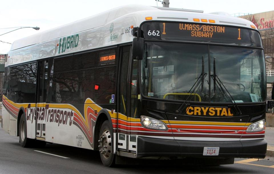 A Crystal Transportation bus on Morrissey Blvd. in the Dorchester section of Boston.