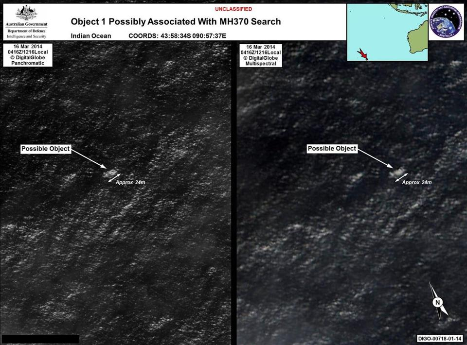 Images taken by satellite image provider DigitalGlobe show an object almost 80 feet long (24 meters) in the Indian Ocean.