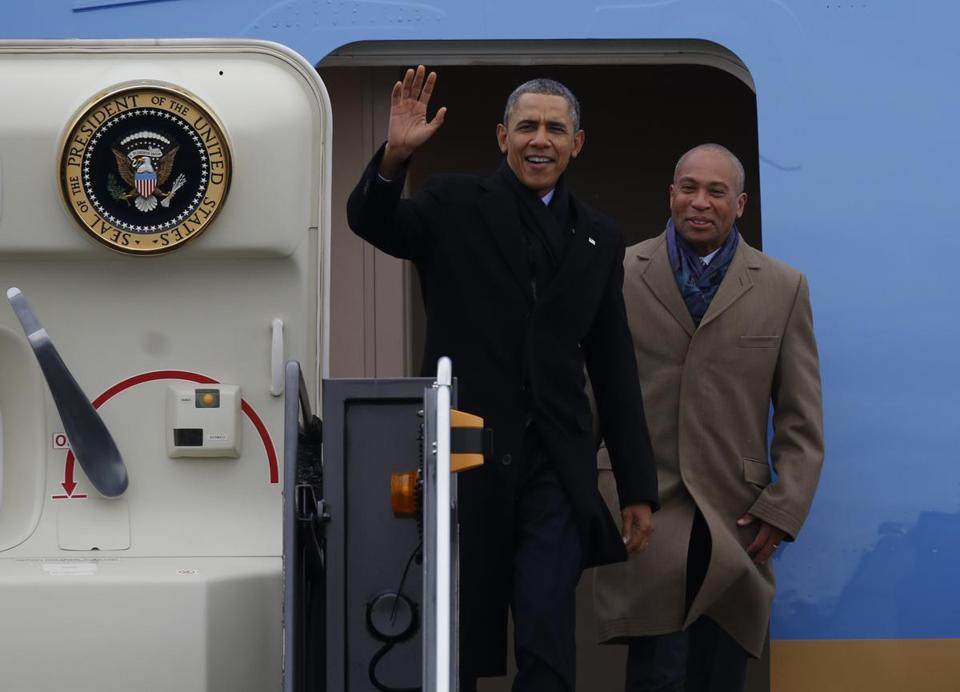 President Obama and Governor Deval Patrick arrived at Logan International Airport aboard Air Force One on March 5.