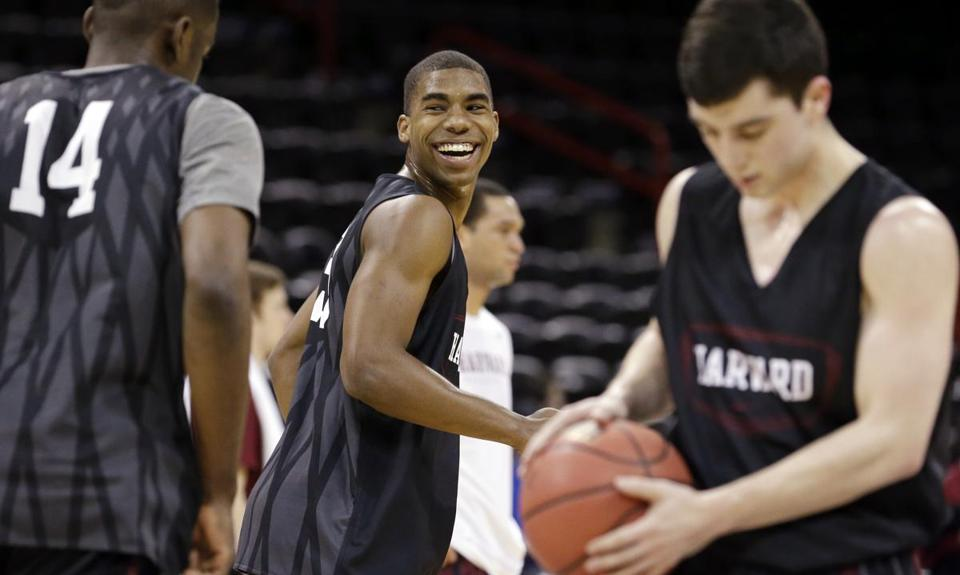 Harvard's Wesley Saunders smiled during practice in Spokane on Wednesday.