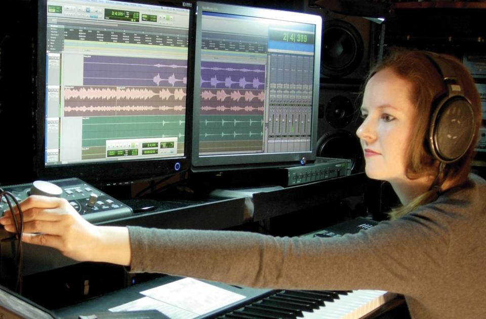 "Left, Winifred Phillips at work in her studio. Soundtracks for video games such as ""Journey"" and ""The Last of Us"" are now sold as stand-alone albums."