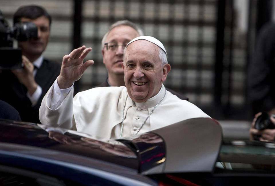 Pope Francis arrived to a prayer vigil for victims of mafia violence in Rome on Friday.
