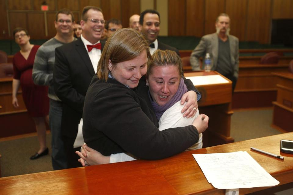 Mary Black and Sarah Weinstein were married in a group wedding at Michigan's Oakland County Courthouse.
