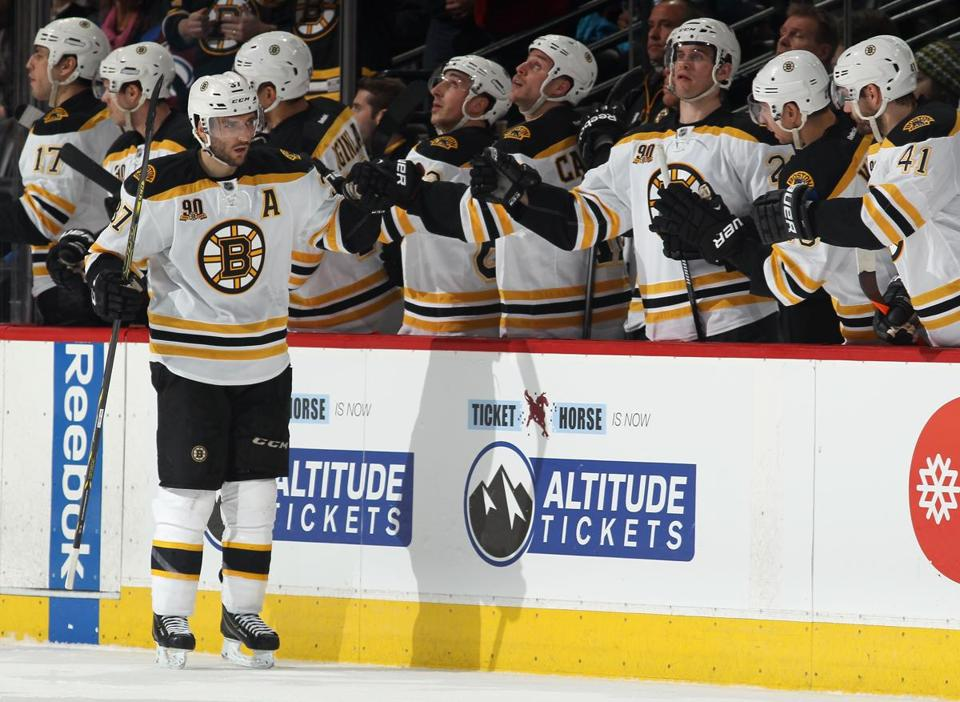 Patrice Bergeron celebrated his goal in the second period.