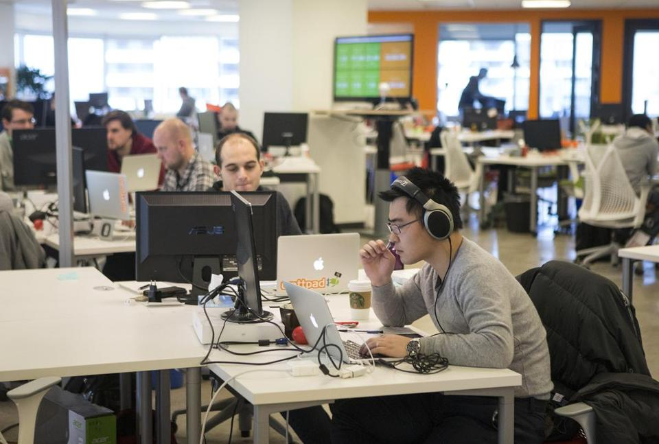 Wattpad employees worked at the company's office in Toronto. Wattpad has more than 2 million writers producing 100,000 pieces of material a day for 20 million readers.