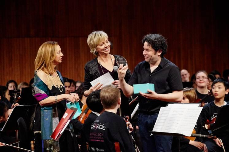 From left: Jamie Bernstein, Leonard Bernstein's daughter, and Karen Zorn, president of Longy School of Music Bard College, presented Grammy winner Gustavo Dudamel with Longy's Bernstein Lifetime Achievement Award.