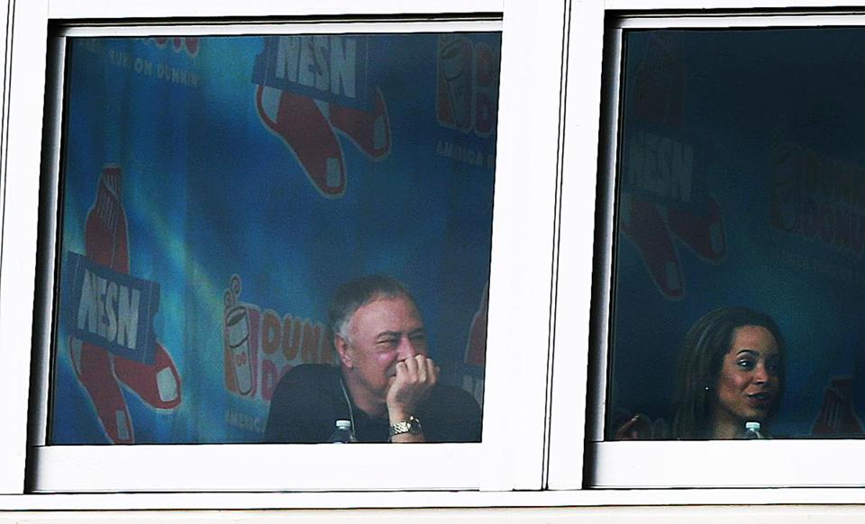 Jerry Remy (left)  in the NESN booth in Ft. Myers, Fla., last month.