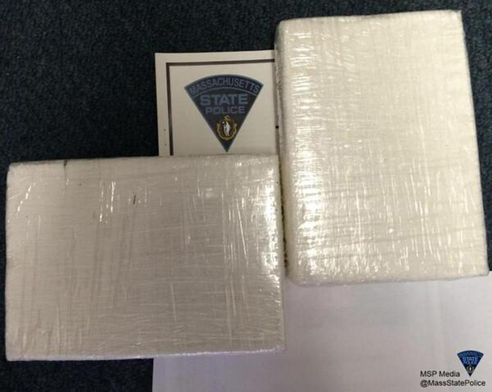 State Police released this photo of the packages believed to contain 2 kilograms of cocaine.