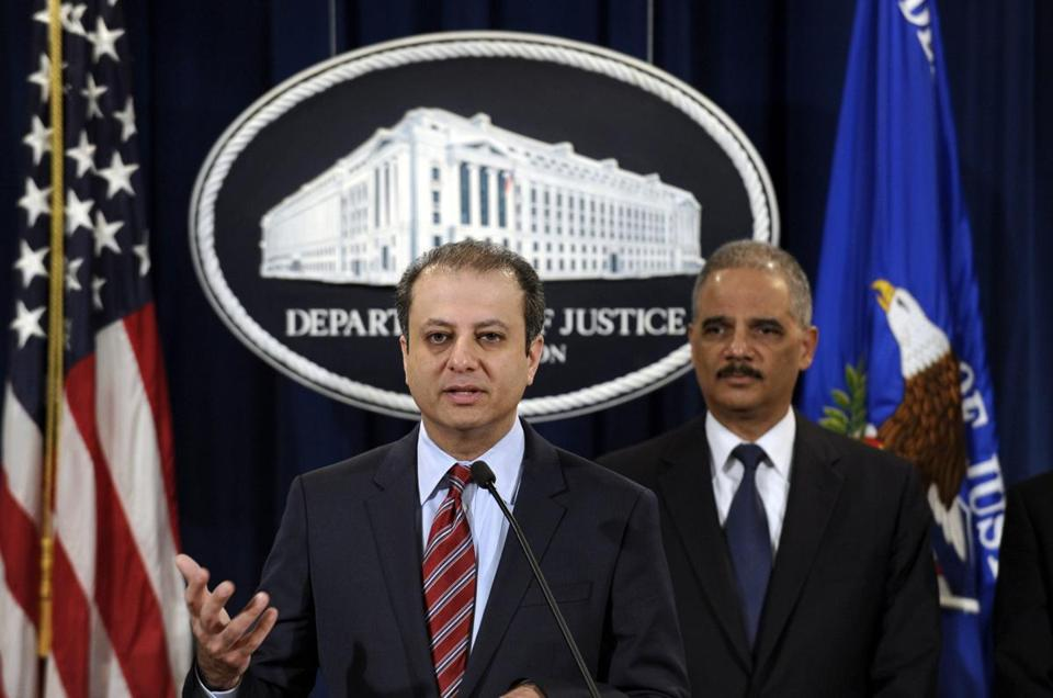 Attorney General Eric Holder (right) and the US attorney in New York, Preet Bharara, discussed the $1.2 billion settlement with Toyota at a news conference last week.