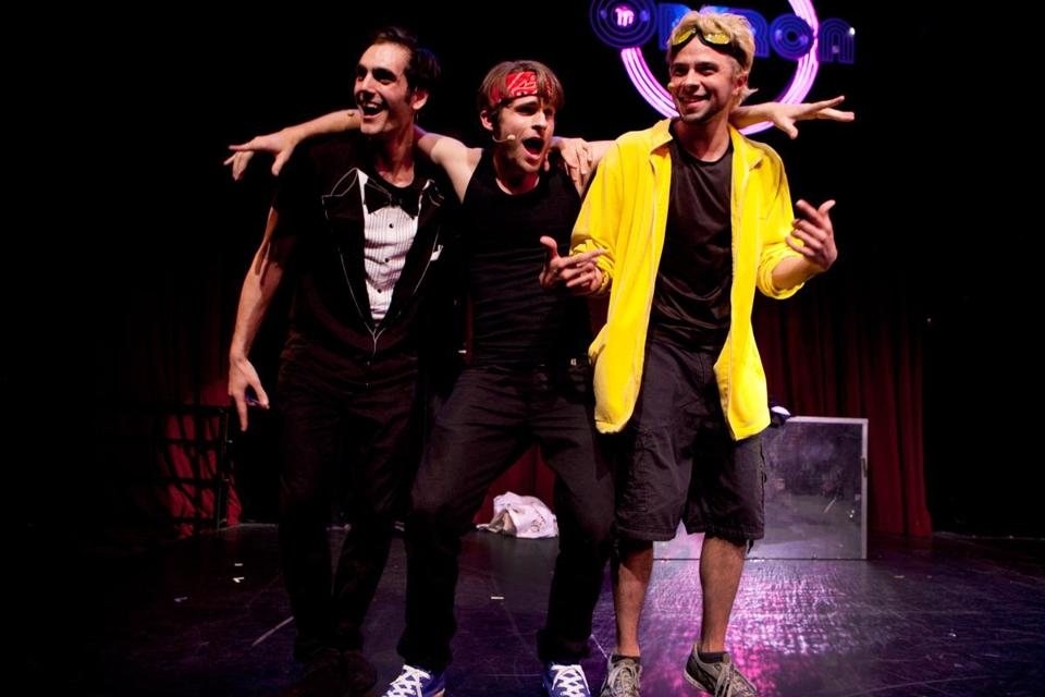 "Top (from left): Rob Brinkmann, Anthony Masters, and Troy Bar-boza in ""Sexyback: or what you will"" at Oberon Monday. Left: Daisy Winner (left) and Taylor Gilroy react to the performance."