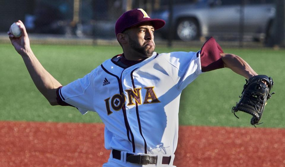 Mariano Rivera Jr., a sophomore pitcher at Iona College, has attracted the interest of major league scouts and likely will be drafted in June. Stan Grossfeld/Globe staff