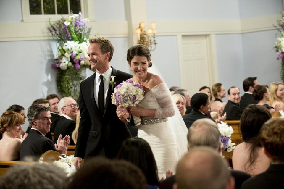 "Neil Patrick Harris as Barney and Cobie Smulders as Robin in ""How I Met Your Mother."""