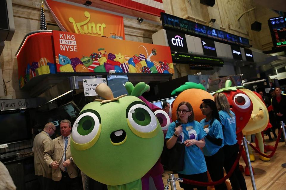 """Candy Crush"" figures were at the New York Stock Exchange to mark King Digital's IPO,"