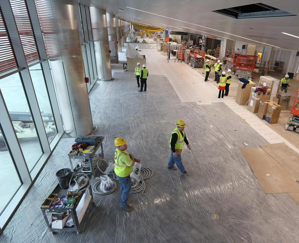 Work was underway Wednesday on United Airline's renovation at Logain airport's Terminal B.