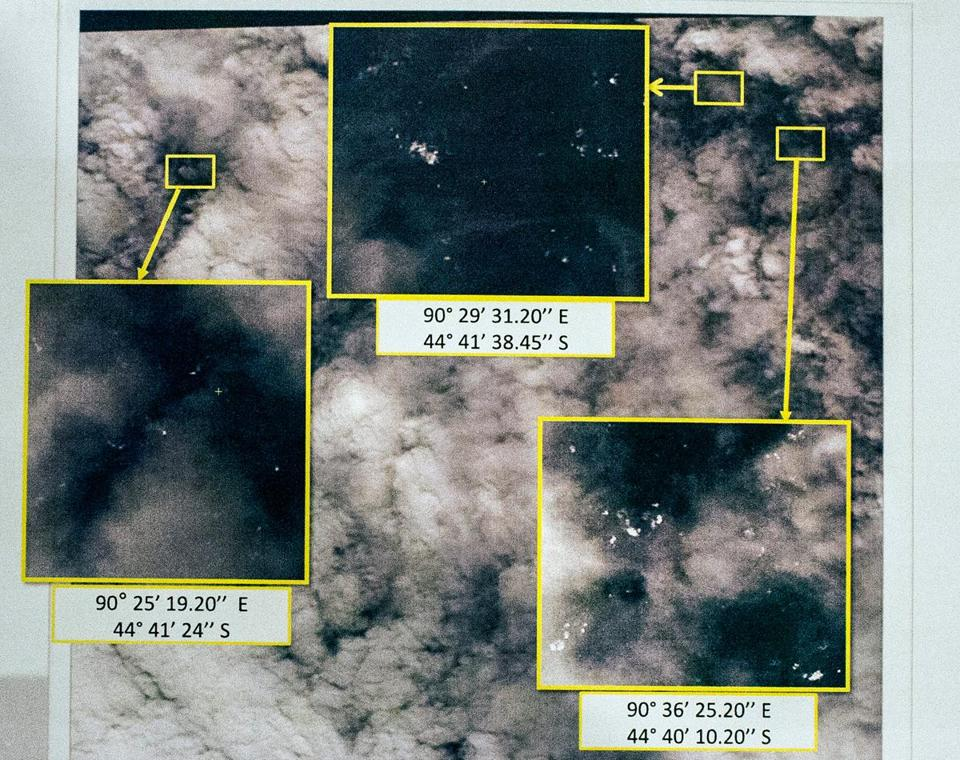 This graphic released by the Malaysian Remote Sensing Agency on Wednesday shows satellite imagery taken on March 23, with the approximate positions of objects seen floating in the southern Indian Ocean.