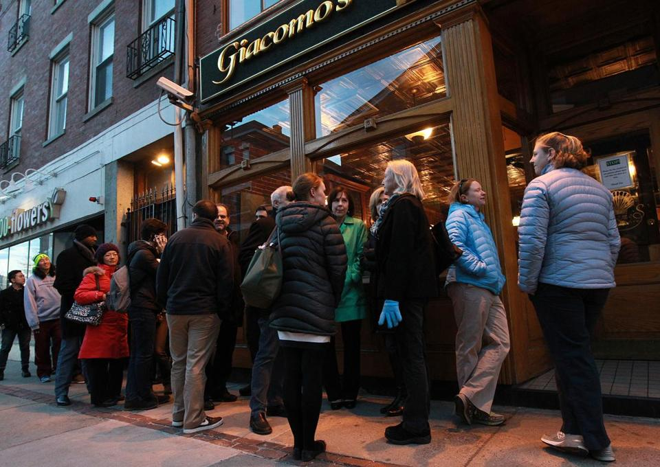 Even on cold nights, people line up outside Giacomo's.