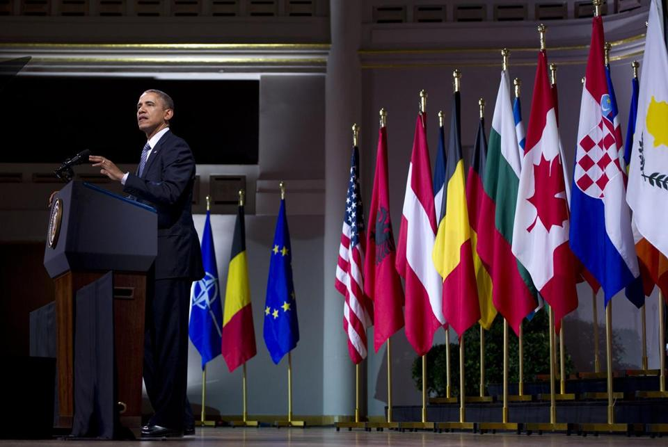 President Obama urged the 28-nation NATO alliance to make good on its commitment to the collective security that has fostered prosperity since the end of the Cold War.