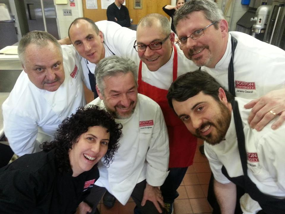 Selfie of chefs at BU 25th Anniversary Bottom Row L ÐR : Janine Sciarappa (Sweet Lessons), Chris Douglass (Ashmont Grill, Tavolo), Barry Maiden (Hungry Mother, State Park) Back Row L-R John Vyhnanek (Chef Consultant), Michael Leviton (Lumiere, Area 4), Jeffrey Fournier (51 Lincoln, Waban Kitchen), Jeremy Sewall (Lineage, Island Creek Oyster Bar, Row 34) Photo credit: Maksimilian Tomov-Strock 27names