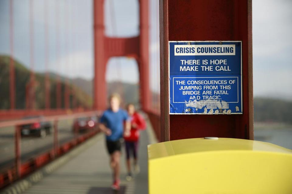 A crisis and emergency call box on the Golden Gate Bridge aims to deter despondent people from jumping off the fabled San Francisco bridge.
