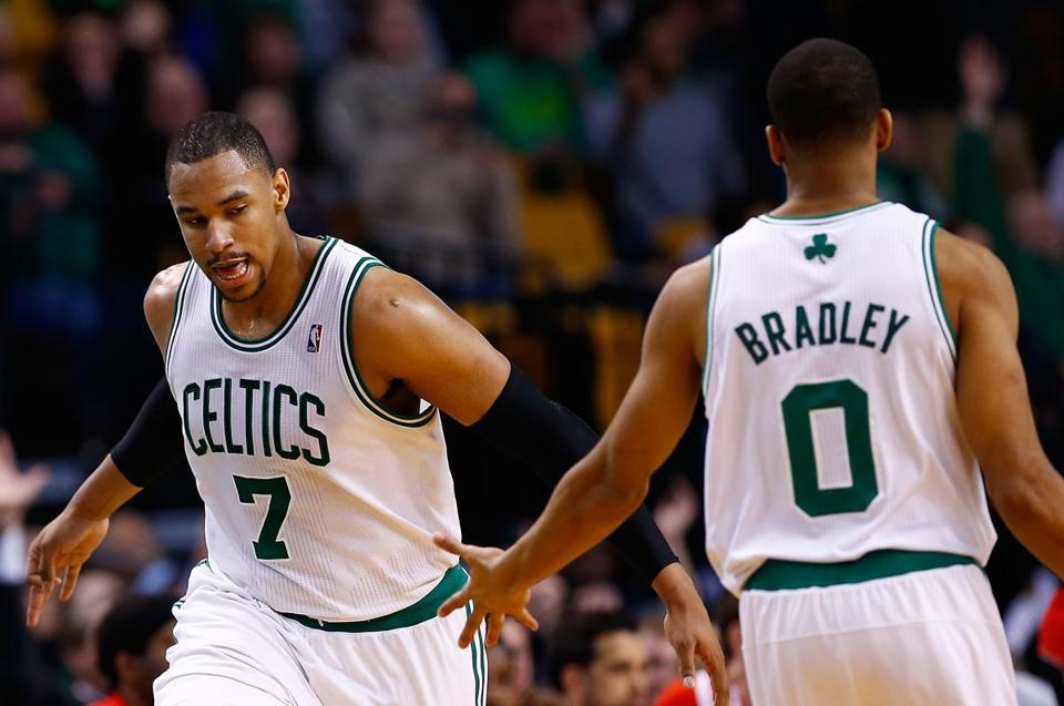 Jared Sullinger was congratulated by Avery Bradley after nailing a 3-pointer during the second half.