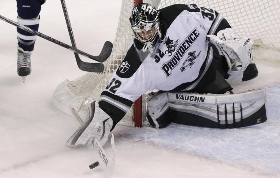 Providence goalie Jon Gillies has a .929 save percentage, third in Hockey East. (Charles Krupa/Associated Press)