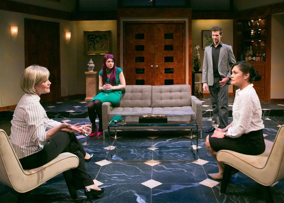 "Amelia Broome, Sasha Castroverde, Joe Short, and Celeste Oliva in Lyric Stage Company's production of ""Rich Girl."""