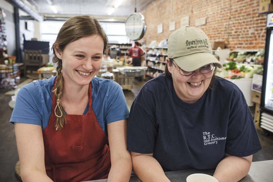 "Alexe van Beuren and Dixie Grimes, authors of ""The B.T.C. Old-Fashioned Grocery Cookbook."""