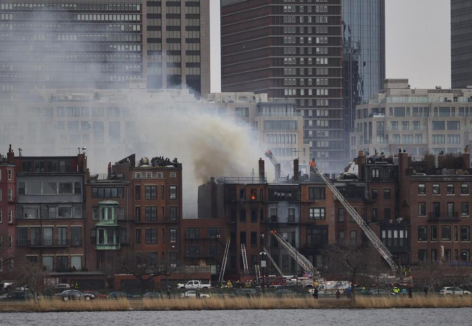 Boston firefighters battled a nine alarm fire in March.