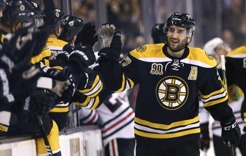 Patrice Bergeron picked up congratulations after a goal Thursday.