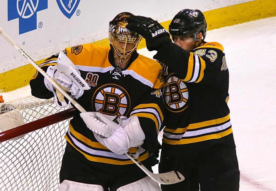Tuukka Rask was congratulated by Matt Bartkowski at the end of Thursday's shutout game.