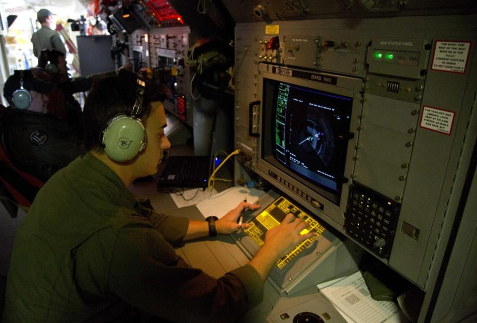 Sergeant Matthew Falanga observed a radar image aboard a Royal Australian Air Force aircraft during the search operation on Thursday.